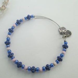 Alex & Ani beaded blue bracelet silver